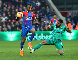 January 12, 2019 - London, England, United Kingdom - London, England - 12 January, 2019.L-R Crystal Palace's Jordan Ayew and Watford's Adrian Mariappa.during English Premier League between Crystal Palace and Watford at Selhurst Park stadium , London, England on 12 Jan 2019. (Credit Image: © Action Foto Sport/NurPhoto via ZUMA Press)