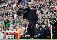 Football - 2016 / 2017 Premier League - Arsenal vs. Everton<br /> <br /> Arsenal Manager Arsene Wenger shouts from the touch line at The Emirates.<br /> <br /> COLORSPORT/ANDREW COWIE
