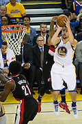 Golden State Warriors guard Klay Thompson (11) takes a shot against the Portland Trail Blazers at Oracle Arena in Oakland, Calif., on October 21, 2016. (Stan Olszewski/Special to S.F. Examiner)