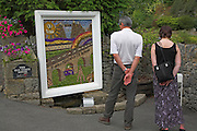 Traditional 'well dressing' Stoney Middleton Derbyshire England. Wells are decorated with flowers in an annual event,