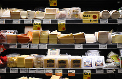 A view of cheese in a Whole Foods Market shop in London.