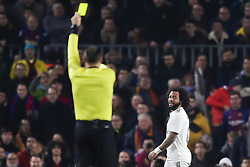 February 6, 2019 - Barcelona, Catalonia, Spain - February 6, 2019 - Camp Nou, Barcelona, Spain - Copa del Rey - FC Barcelona v Real Madrid CF; referee Mateu Lahoz shows a yellow card to Marcelo Vieira da Silva of Real Madrid. (Credit Image: © Marc Dominguez/ZUMA Wire)