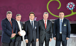(L-R) JOHN TOSHACK COACH OF WALES, ZLATKO KRANJCAR COACH OF MONTENEGRO HOLDS AN EURO 2012 OFFICIAL BALL, FABIO CAPELLO COACH OF ENGLAND, OTTMAR HITZFELD COACH OF SWITZERLAND, STANIMIR STOILOV COACH OF BULGARIA POSE AFTER THE UEFA EURO 2012 QUALIFYING DRAW IN PALACE SCIENCE AND CULTURE IN WARSAW, POLAND..THE 2012 EUROPEAN SOCCER CHAMPIONSHIP WILL BE HOSTED BY POLAND AND UKRAINE...WARSAW, POLAND , FEBRUARY 07, 2010..( PHOTO BY ADAM NURKIEWICZ / MEDIASPORT / SPORTIDA.COM ).