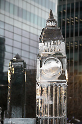 © under license to London News Pictures.  15/01/2011. An ice sculpture of Big Ben.  The 3rd London Ice Sculpting Festival was held in Canada Square Park, Canary Wharf today (Sat). The festival has timed competitions between ice sculpting teams from around the globe: Africa, France, Hungary, Netherlands, Portugal and the UK.Picture credit should read Ed Brown/London News Pictures
