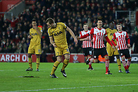 Football - 2016 / 2017 Premier League - Southampton vs. Tottenham Hotspur<br /> <br /> Harry Kane of Tottenham Hotspur looks down at the pitch after blasting his penalty over the bar at St Mary's Stadium Southampton England<br /> <br /> COLORSPORT/SHAUN BOGGUST