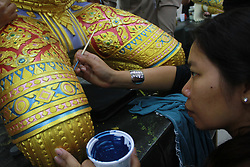 April 28, 2017 - Thailand - Authorities and volunteers made decorative molding details of the cremation of Thailand's late monarch Bhumibol Adulyadej at Sanam Luang park, in front of the Grand Palace in Bangkok. (Credit Image: © Vichan Poti/Pacific Press via ZUMA Wire)