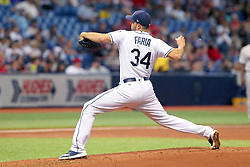 May 22, 2018 - St. Petersburg, FL, U.S. - ST. PETERSBURG, FL - MAY 22: Jacob Faria (34) of the Rays delivers a pitch to the plate during the MLB regular season game between the Boston Red Sox and the Tampa Bay Rays on May 22, 2018, at Tropicana Field in St. Petersburg, FL. (Photo by Cliff Welch/Icon Sportswire) (Credit Image: © Cliff Welch/Icon SMI via ZUMA Press)
