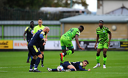 Jack Smith of Stevenage tackles Jamille Matt of Forest Green Rovers- Mandatory by-line: Nizaam Jones/JMP - 17/10/2020 - FOOTBALL - innocent New Lawn Stadium - Nailsworth, England - Forest Green Rovers v Stevenage - Sky Bet League Two