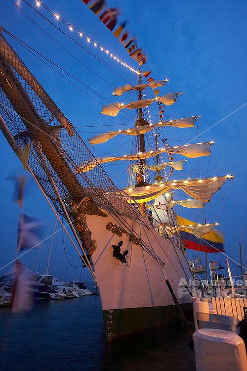 Newport, RI 2007 - Tallship from Columbia docked at Bannister's wharf during the summer of 2007 Tallships festival.