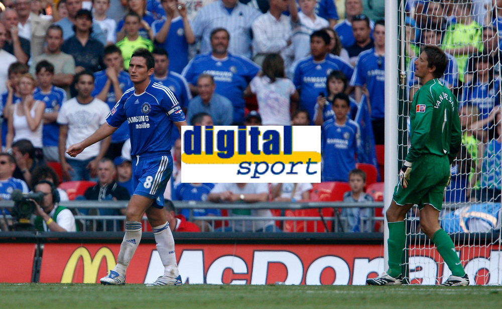 Photo: Richard Lane/Sportsbeat Images.<br />Manchester United v Chelsea. FA Community Shield. 05/08/2007. <br />Chelsea's Frank Lampard looks dejected after another penalty miss as United's keeper, Edwin Van Der Sar looks on.