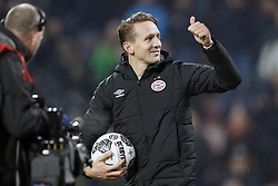 Luuk de Jong of PSV with the match ball after his hattrick during the Dutch Eredivisie match between PSV Eindhoven and PEC Zwolle at the Phillips stadium on February 03, 2018 in Eindhoven, The Netherlands