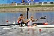 Shunyi, CHINA. Great Britain's,  Left, DEN. K1, Eirik Veraas LARSEN, races home to beat GER K1 Max HOFF , during,  Mondays  Men's Kayak single [K1] 1000m, heat. at the 2008 Olympic Canoe/Flatwater Racing, Shunyi Rowing-Canoeing Course.  Mon 18.08.2008.  [Mandatory Credit: Peter SPURRIER, Intersport Images]