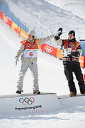 Celebrations following, Redmond Gerard, USA, with Mark McMorris, Canada 2nd, winning the mens Snowboard Slopestyle Finals at the Pyeongchang Winter Olympics on the 11th February 2018 in Phoenix Snow Park in South Korea