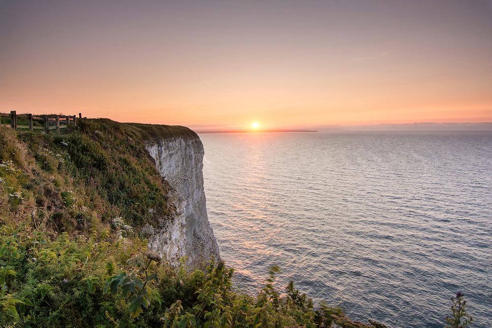 Sunset at RSPB Bempton Cliffs.