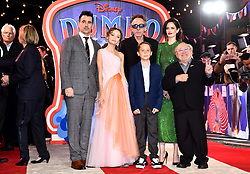 (left to right) Colin Farrell, Nico Parker, Tim Burton, Finley Hobbins, Eva Green and Colin Farrell, Nico Parker, Tim Burton, Finley Hobbins, Eva Green attending the European premiere of Dumbo held at Curzon Mayfair, London.