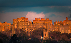 © Licensed to London News Pictures. 10/01/2020. Windsor, UK. The full moon rises over Windsor Castle which is bathed in the glow of the sunset. January's full moon, known as the Wolf Moon, is fully at it's peak at 19:21 hrs tonight. Photo credit: Peter Macdiarmid/LNP
