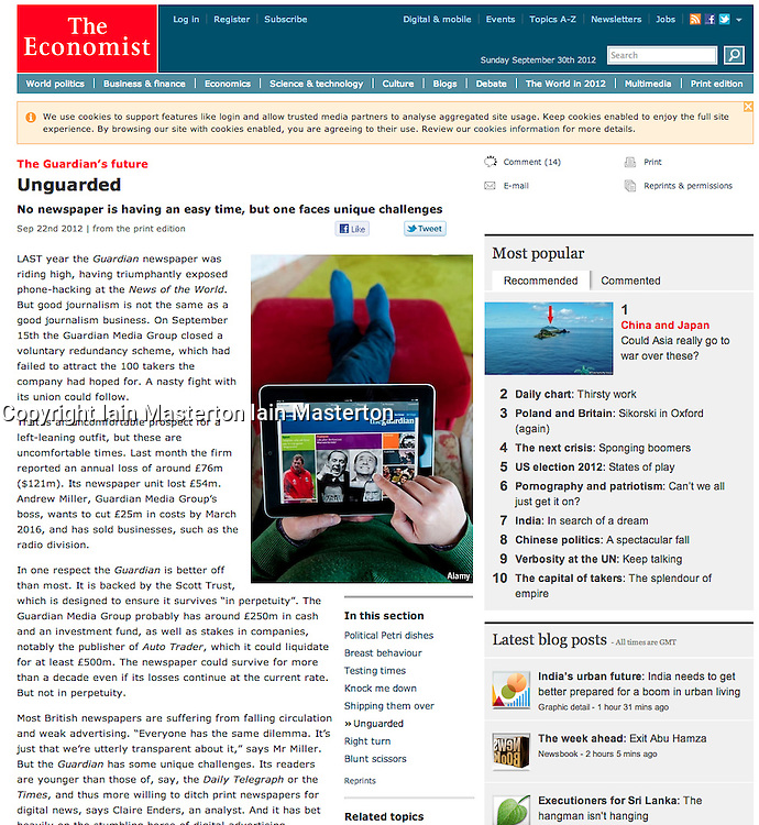 The Economist; Woman reading The guardian on an iPad