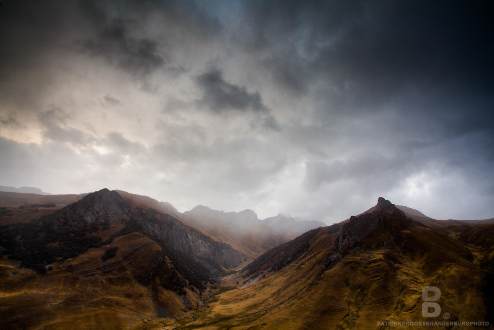 On a ridge during a stormy night in close to a community in Matacancha, Peru in the Cordillera Huayhuash in the Andes Mountains facing south.
