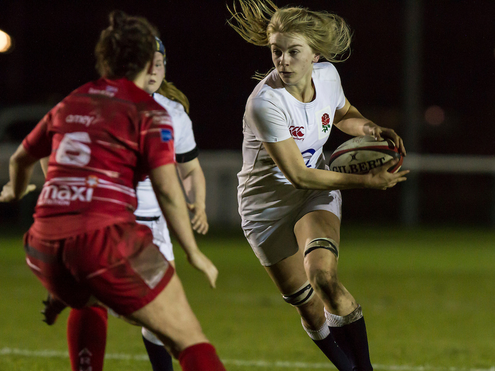 Anna Wolf in action, Army Women v U20 England Women at the Army Rugby Stadium, Aldershot, England, on 16th February 2017. Final score 15-38.