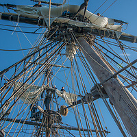 The Lady Washington, a replica of the first US ship to reach California, sails near Half Moon Bay, CA.  Today it operates as a floating museum