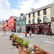A street scene in Dingle, County Kerry, Ireland.  Dingle is the only town on the Dingle Peninsula. Principal industries in the town are tourism, fishing and agriculture. Dingle, County Kerry, Ireland. Photo Tim Clayton