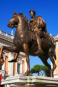Sculptural detail from the entrance/courtyard to the Capitolini museums, in Rome, Italy. The statue is a bronze of Marcus Aurelius on a horse. The museums themselves are contained within 3 palazzi as per designs by Michelangelo Buonarroti in 1536, they were then built over a 400 year period.