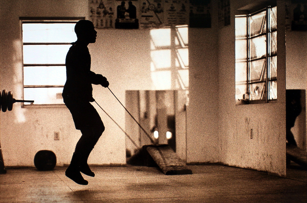 A boxer jumps rope