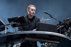 © Licensed to London News Pictures . 06/06/2015. Manchester , UK . DISCLOSURE perform on the Main Stage at the close of the first night of Parklife 2015 music festival in Heaton Park , Manchester . Photo credit : Joel Goodman/LNP