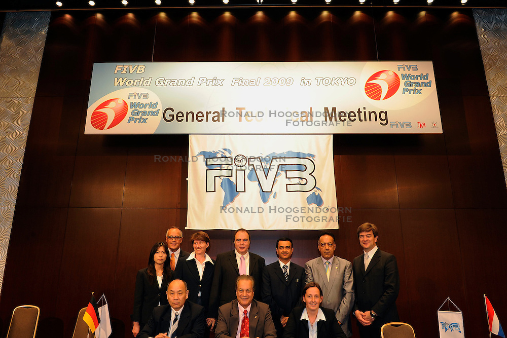 18-08-2009 VOLLEYBAL: WGP FINALS PERSCONFERENTIE: TOKYO<br /> General Technical Meeting in het Keio Plaza Hotel - FiVB officials Mr. Takashi Shimoyama, Mr. Hassan Mohamed, Ms. Gabrielle van Zwieten and the FIVB referees are ready for kick off the Grand Prix Final.<br /> ©2009-WWW.FOTOHOOGENDOORN.NL
