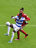 Football - 2019 / 2020 Sky Bet (EFL) Championship - Queens Park Rangers vs. Fulham<br /> <br /> Queens Park Rangers' Bright Osayi-Samuel holds off the challenge from Fulham's Michael Hector, at Kiyan Prince Foundation Stadium (Loftus Road).<br /> <br /> COLORSPORT/ASHLEY WESTERN