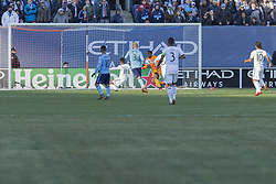 March 11, 2018 - New York, New York, United States - Ola Kamara (11) of LA Galaxy shoots ball on goal during regular MLS game against NYC FC at Yankee stadium NYC FC won 2 - 1  (Credit Image: © Lev Radin/Pacific Press via ZUMA Wire)