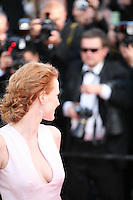 Jessica Chastain attending the gala screening of the film Moonrise Kingdom at the 65th Cannes Film Festival. Wednesday 16th May 2012, the red carpet at Palais Des Festivals in Cannes, France.