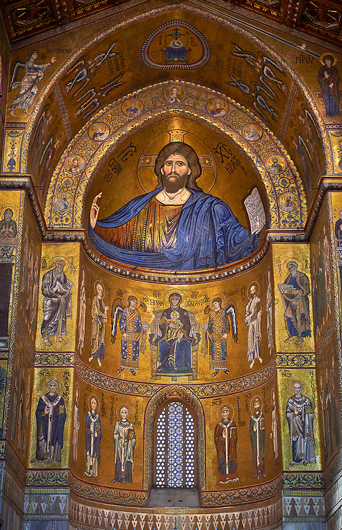 Christ Pantocrator mosaics of the Norman-Byzantine medieval cathedral  of Monreale,  province of Palermo, Sicily, Italy. .<br /> <br /> If you prefer you can also buy from our ALAMY PHOTO LIBRARY  Collection visit : https://www.alamy.com/portfolio/paul-williams-funkystock/monrealeduomomosaics.html. Refine search by adding subject etc  into the LOWER SEARCH WITHIN GALLERY box. <br /> <br /> Visit our BYZANTINE MOSAIC PHOTO COLLECTION for more   photos  to download or buy as prints https://funkystock.photoshelter.com/gallery-collection/Roman-Byzantine-Art-Artefacts-Antiquities-Historic-Sites-Pictures-Images-of/C0000lW_87AclrOk