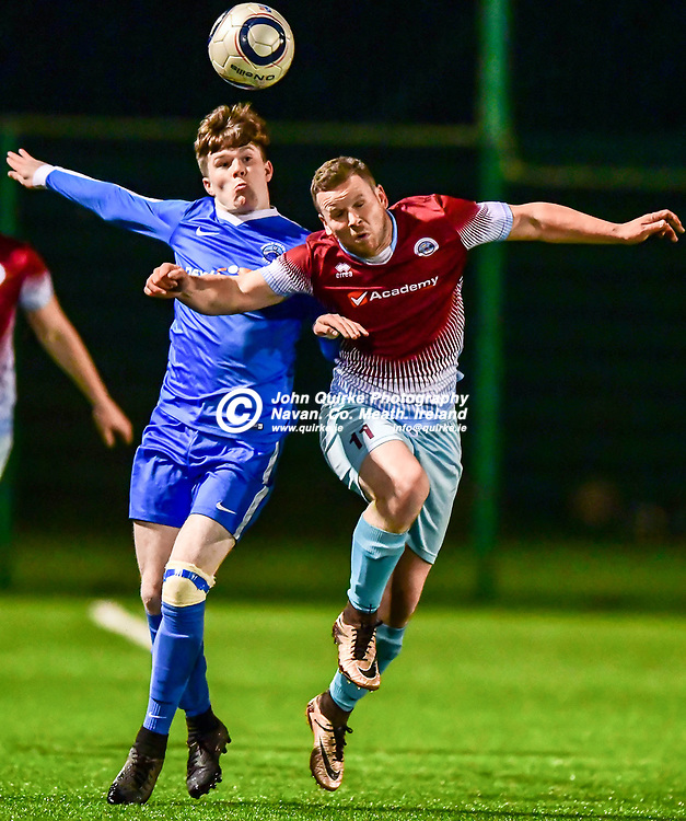 Parkvilla's Ciaran Rogers (right) and Enfield Celtic's Cian O'Hare challenge for the ball in the Kilmessan Shield Final, Parkvilla v Enfield Celtic at the MDL grounds.<br /> <br /> Photo: GERRY SHANAHAN-WWW.QUIRKE.IE<br /> <br /> 14-12-2018