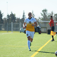 5th year defender Racquel Marshall (15) of the Regina Cougars during the women's soccer home game on October 1 at U of R Field. Credit: Arthur Ward/Arthur Images
