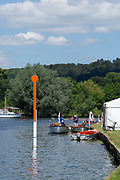 """Henley on Thames, United Kingdom, 22nd June 2018, Friday,   """"Henley Women's Regatta"""",  General view,  Competitors, Rowing-Sculling, Training, Umpires Launches moored, Henley Reach, Thames Valley,  River Thames, England, © Peter SPURRIER"""