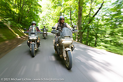 Harley-Davidson Pan-America engineer Andrew Erickson (L) with Danger Dan on a Sunday ride Pan-America ride on the beautiful roads near the Tennessee Motorcycles and Music Revival. Hurricane Mills, TN, USA. May 23, 2021. Photography ©2021 Michael Lichter.