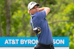 May 9, 2019 - Dallas, TX, U.S. - DALLAS, TX - MAY 09: Aaron Wise hits his tee shot on #9 during the first round of the AT&T Byron Nelson on May 9, 2019 at Trinity Forest Golf Club in Dallas, TX. (Photo by Andrew Dieb/Icon Sportswire) (Credit Image: © Andrew Dieb/Icon SMI via ZUMA Press)