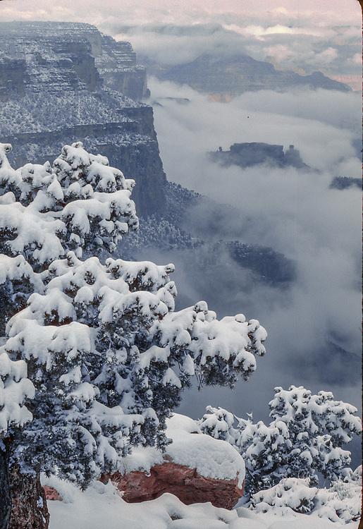 Winter storm clearing, view from Yaki Point, South Rim, Grand Canyon National Park, Arizona,  USA