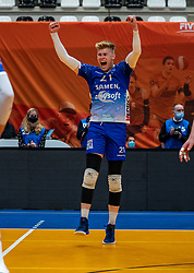 Bennie Tuinstra of Lycurgus in action during the cup final between Amysoft Lycurgus vs. Draisma Dynamo on April 18, 2021 in sports hall Alfa College in Groningen