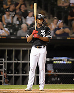 CHICAGO - SEPTEMBER 11:  Eloy Jimenez #74 of the Chicago White Sox looks on against the Kansas City Royals on September 11, 2019 at Guaranteed Rate Field in Chicago, Illinois.  (Photo by Ron Vesely)  Subject:   Eloy Jimenez