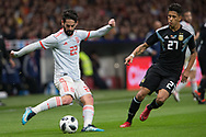 Isco of Spain and Maximiliano Meza of Argentina during the International friendly game football match between Spain and Argentina on march 27, 2018 at Wanda Metropolitano Stadium in Madrid, Spain - Photo Rudy / Spain ProSportsImages / DPPI / ProSportsImages / DPPI