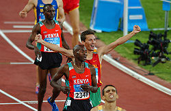 Hicham El Guerrouj MAR, Bernard Lagat KEN, Rui Silva POR in action during Olympics Games Athletics day 12 on August 24, 2004 in Olympic Stadion Spyridon Louis, Athens.