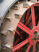 View of step and rear wheel with lugs, antique J.I. Case steam tractor; Rock River Thresheree, Edgerton, WI; 2 Sept 2013