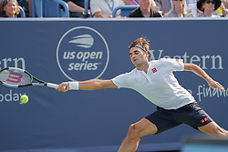 August 19, 2018 - Mason, Ohio, USA - Roger Federer, (SUI) reaches for a shot to the corner during Sunday's final round of the Western and Southern Open at the Lindner Family Tennis Center, Mason, Oh. (Credit Image: © Scott Stuart via ZUMA Wire)