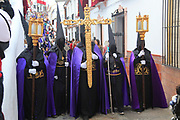 Easter Christian religious procession through streets of Setenil de las Bodegas, Cadiz province, Spain