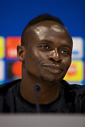 LIVERPOOL, ENGLAND - Monday, May 21, 2018: Liverpool's Sadio Mane during a press conference at Anfield ahead of the UEFA Champions League Final match between Real Madrid CF and Liverpool FC. (Pic by Paul Greenwood/Propaganda)