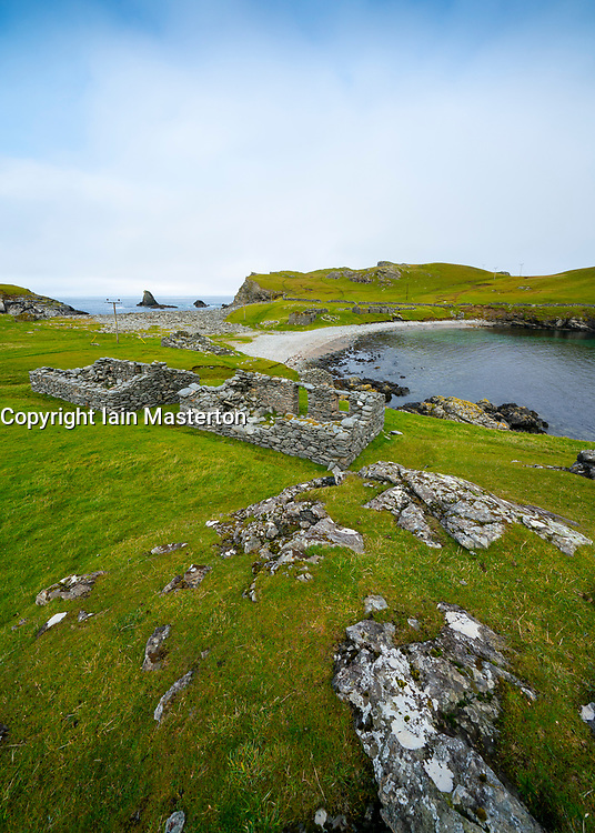 Ruined cottages and crofts at Fethaland former fishing settlement at North Roe, Shetland Islands, Scotland, UK