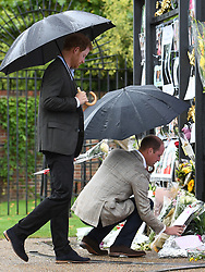 The Duke and Duchess of Cambridge and Prince Harry visit the White Garden dedicated to their mother Diana, Princess of Wales, at Kensington Palace, London, UK, on the 30th August 2017. 30 Aug 2017 Pictured: Prince Harry, Prince William, Duke of Cambridge. Photo credit: James Whatling / MEGA TheMegaAgency.com +1 888 505 6342