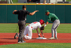 NORMAL, IL - April 08: Umpire Wayne Harris is on hand to observe a safe slide by Derek Parola into 2nd base with Keith Torres covering during a college baseball game between the ISU Redbirds  and the Sacramento State Hornets on April 08 2019 at Duffy Bass Field in Normal, IL. (Photo by Alan Look)